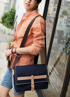 Preppy Cross Body Canvas Blue - Serbags  - 5
