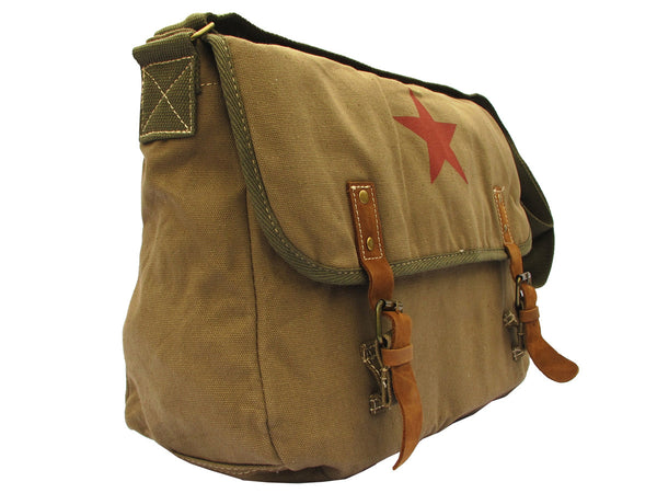 Red Star Vintage Laptop Canvas Messenger Bag - Serbags  - 3