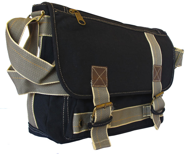 Black Canvas Messenger Bag - Serbags  - 1