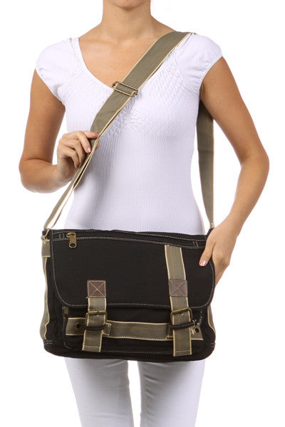 Black Canvas Messenger Bag - Serbags  - 6
