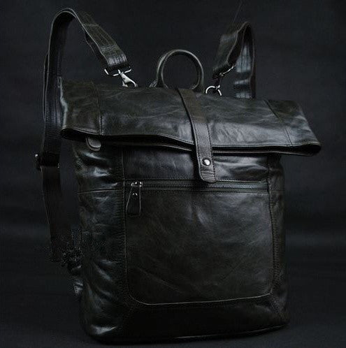Convertible Selvaggio Genuine Dark Gray Italian Leather Rucksack with Deatacheable Shoulder Straps