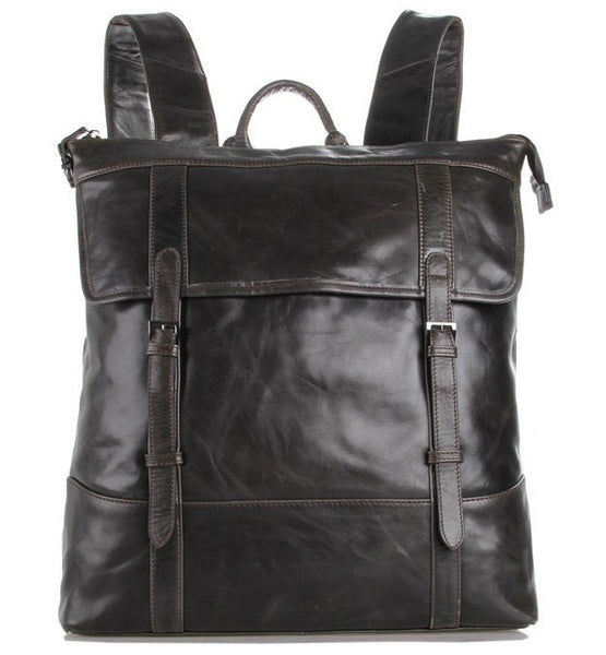 Selvaggio Genuine Leather Vintage Laptop Backpack - front view