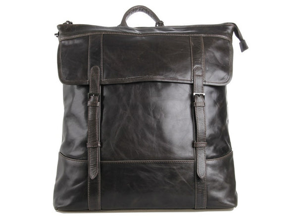 Black Vintage Leather Backpack  - front view
