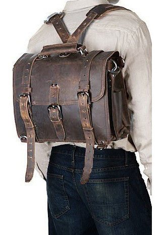 man wearing the full grain leather briefcase