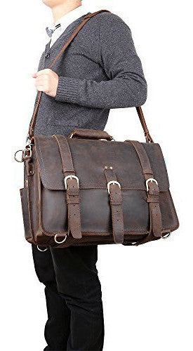 guy carrying the beautiful Selvaggio full grain leather briefcase