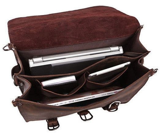 Interior pockets on the Selvaggio handmade leather briefcase & backpack