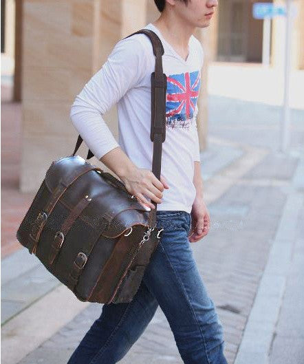 man wearing beautiful Selvaggio full grain leather briefcase