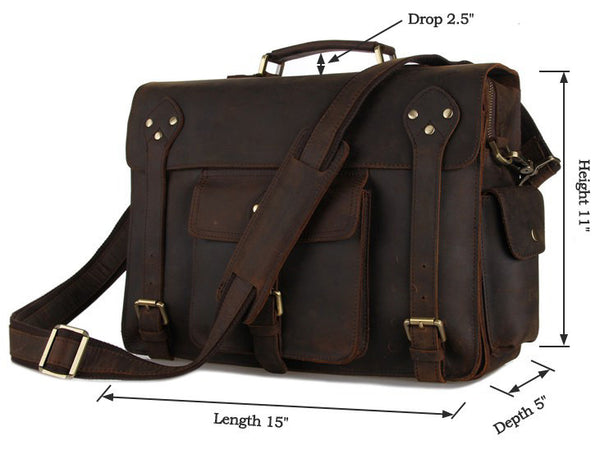 dimension details for the Business & Travel Large Solid Dark Brown Full Grain Leather Messenger Bag in Brass & Iron Details