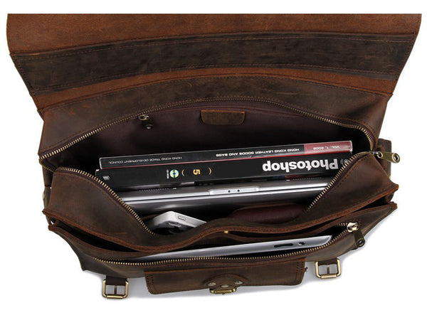 Business & Travel Large Solid Dark Brown Full Grain Leather Messenger Bag with books and personal objects