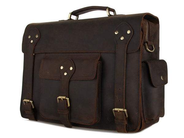 Selvaggio Large Vintage Full Grain Leather Briefcase - Serbags  - 3
