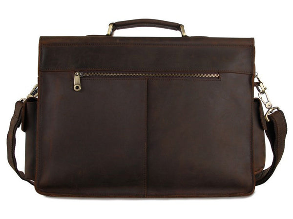 Selvaggio Large Vintage Full Grain Leather Briefcase - Serbags  - 4