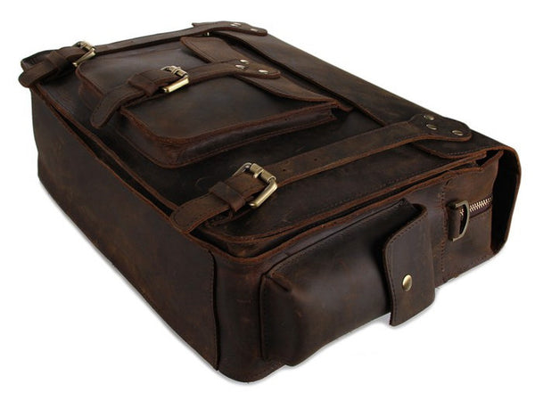 Business & Travel Large Solid Dark Brown Full Grain Leather Messenger Bag in Brass & Iron Details