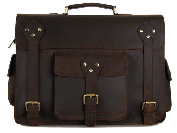 Selvaggio Large Vintage Full Grain Leather Briefcase - Serbags  - 2