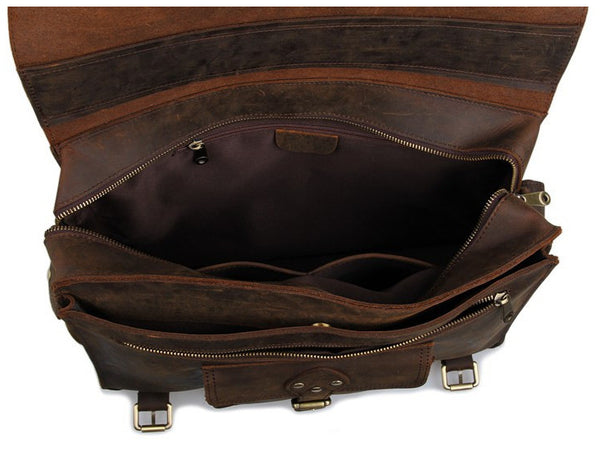 inside pockets of the Business & Travel Large Solid Dark Brown Full Grain Leather Messenger Bag