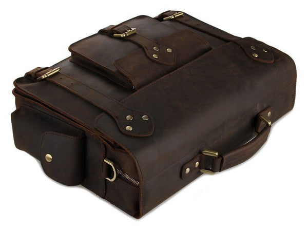 side view of the Business & Travel Large Solid Dark Brown Full Grain Leather Messenger Bag in Brass & Iron Details