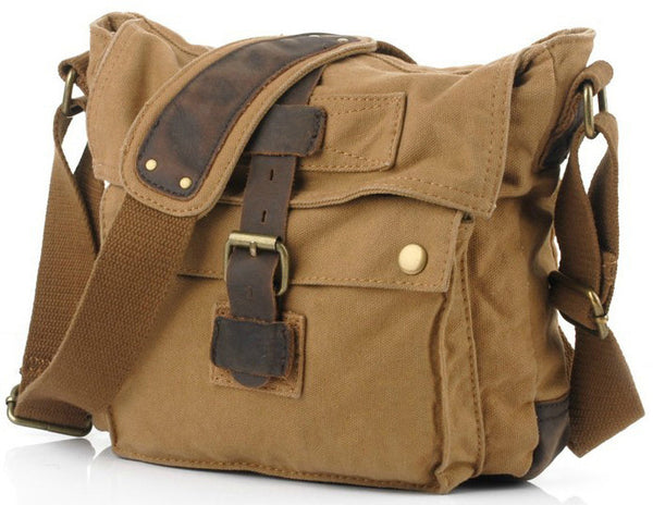Single Buckle Compact Leather and Canvas Satchel Bag for Women