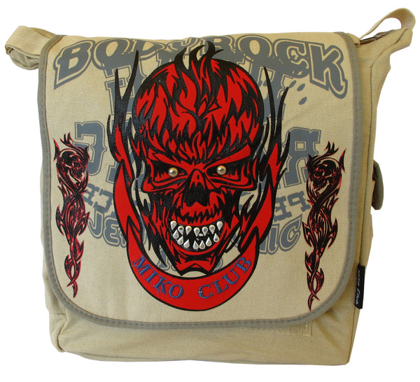 Skull in Flame Beige Canvas Messenger Bag - Serbags  - 1