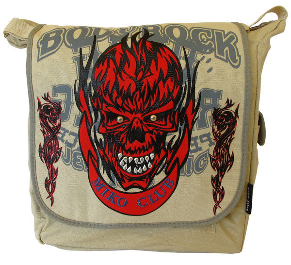 Abstract Skull Design Red Canvas Messenger Bag