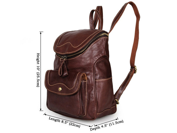 Soft Genuine Leather Petite Backpack