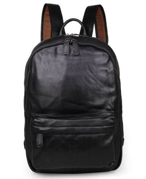 Black Leather Backpack Classic Style