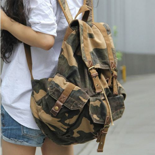 Close-up of the Camo Cargo Military Rucksack Backpack by Serbags