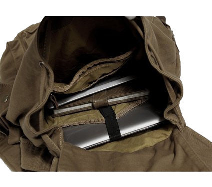 Interior compartments for the olive surplus hiking travel canvas bag