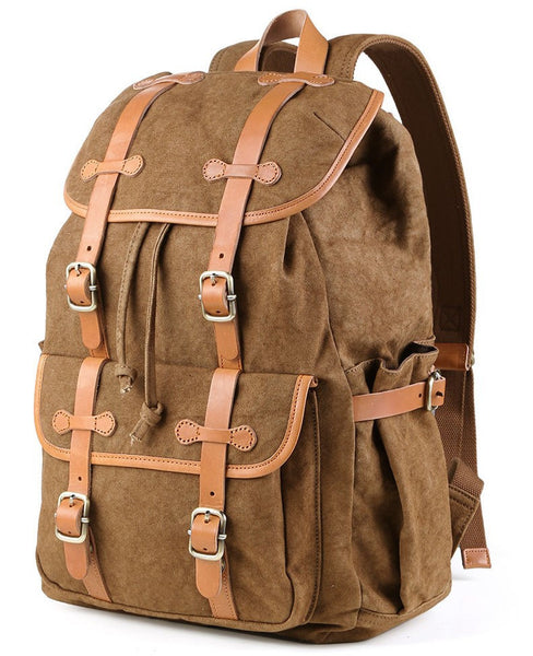 100% cotton backpack with leather straps by SerBags