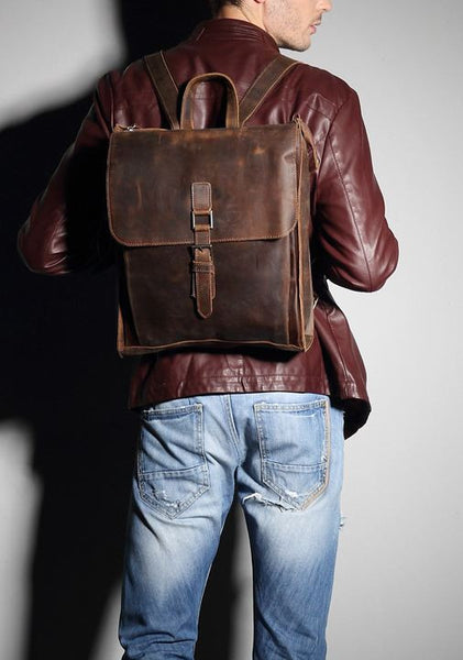 Premium Leather Laptop Backpack