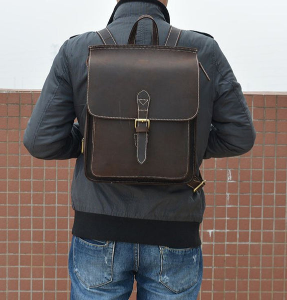 Dark Brown Student Leather Backpack Organizer Book Bag - Notebook