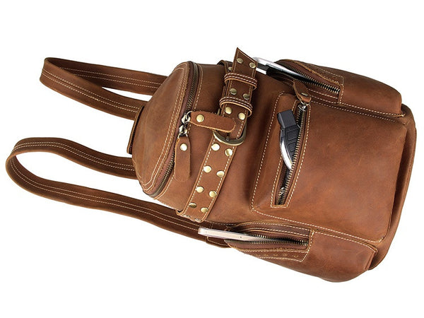 Stylish Cow Leather Belt Accent Book Bag
