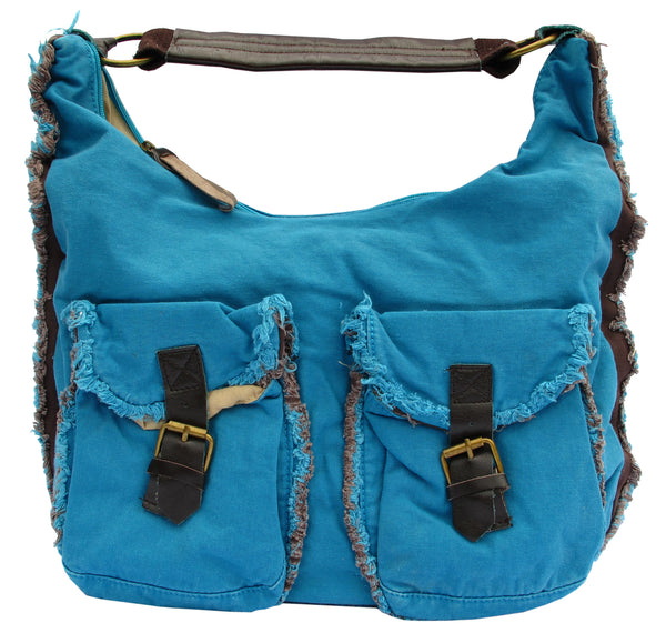 Blue Designer Cotton Handbag for Women - Serbags  - 1
