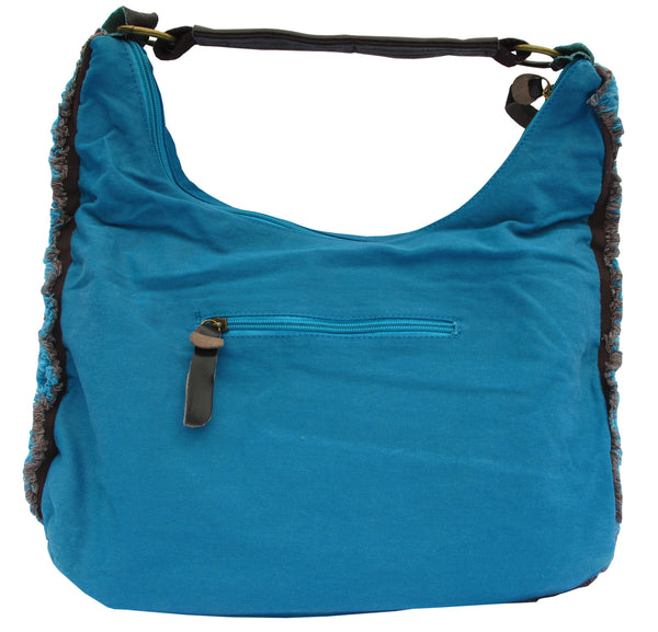 Blue Designer Cotton Handbag for Women - Serbags  - 4