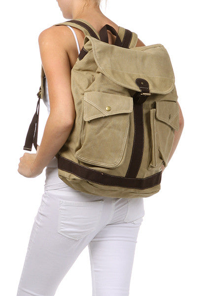 Travel Multi-Pocket Rucksack Backpack with Leather Strap - Serbags  - 3