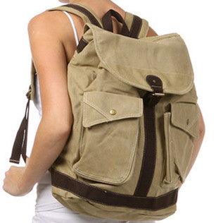 Travel Multi-Pocket Rucksack Backpack with Leather Strap - Serbags  - 2