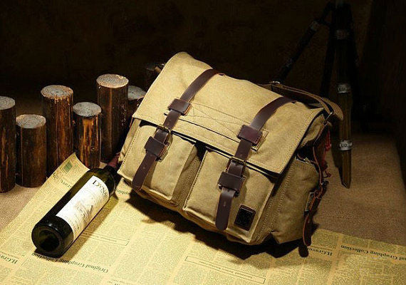 Vintage Canvas Military with Leather Trims - Serbags  - 5