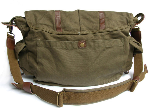 ad5d0d7176 ... Stylish Vintage Green Canvas Messenger Bag with Large Pockets ...