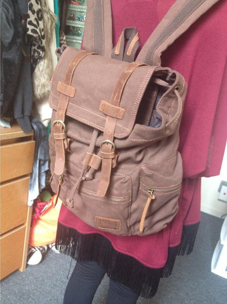 beautiful dark brown vintage canvas backpack