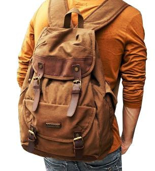 Premium Quality Brown Canvas and Leather Rucksack for Men & Women