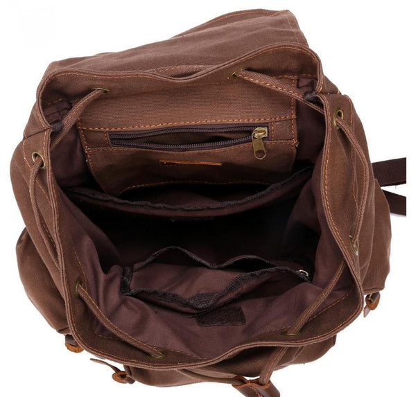 Interior lining for the beautiful dark brown vintage canvas backpack