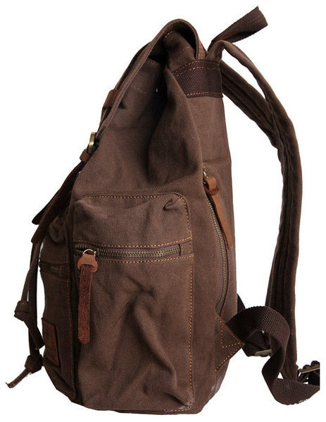 Side view -sturdy dark brown vintage hiking backpack by Serbags