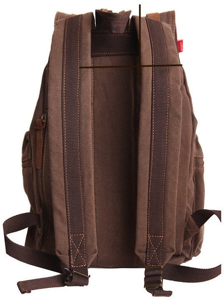 Back view -sturdy dark brown vintage hiking backpack