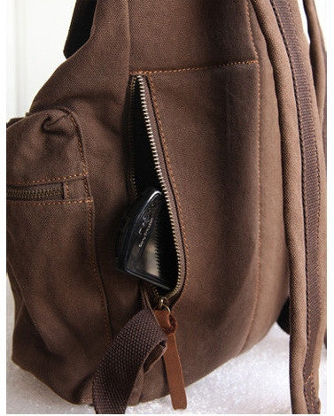 Side pocket details - beautiful dark brown vintage canvas backpack