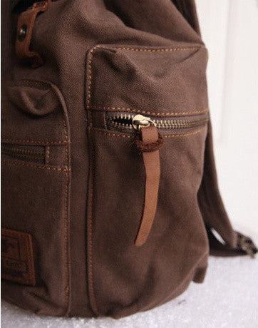 Zipper details - beautiful dark brown vintage canvas backpack