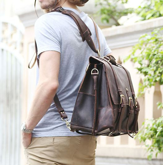 Solid Heavy Duty & Dark Brown Selvaggio Handmade Leather Briefcase with Metal Buckles
