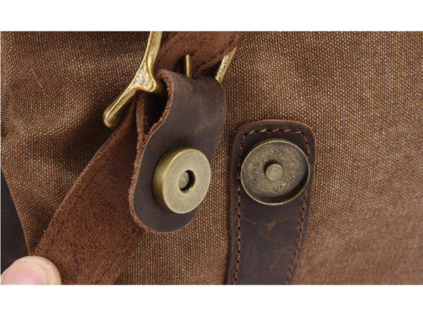 Leather Trimmed Vintage Canvas Messenger Bag