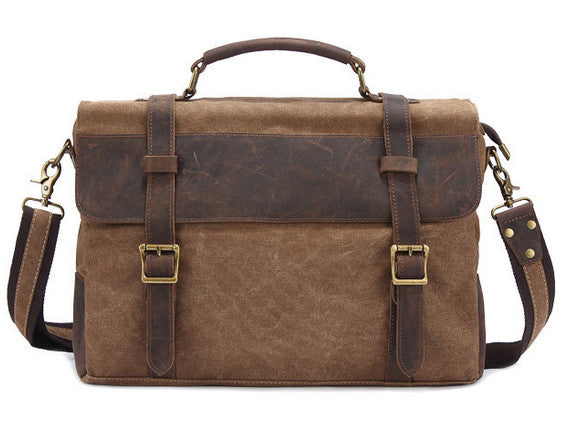Leather Trimmed Vintage Canvas Messenger Bag 0b8b02068