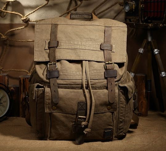 Large Olive Surplus Hiking Canvas Backpack with Leather Straps