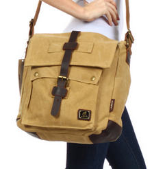 Vintage Canvas & Leather Sturdy Vertical Bag - Serbags  - 1