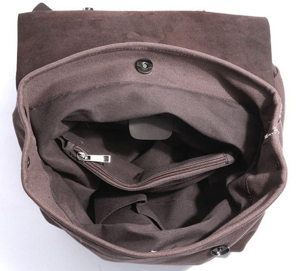 Inside pockets of the leather & canvas vintage backpack