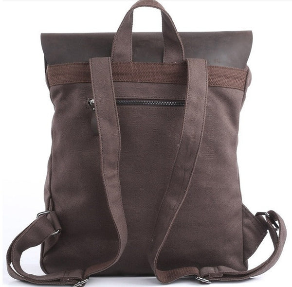 Back view of the brown vintage leather & canvas backpack